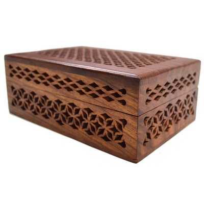 Handmade Lattice Cutwork Wood Box (India) - Overstock