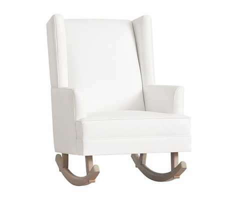 Leather Modern Wingback Convertible Rocker-White - Pottery Barn Kids