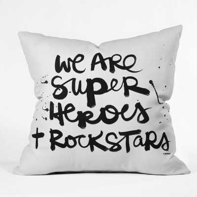 """SUPERHEROES Throw Pillow-White-  20""""x20""""- With Insert - Wander Print Co."""