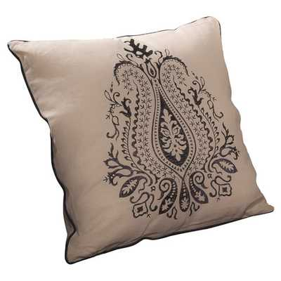 """Anna Embroidered Throw Pillow (Set of 2) - Beige with blue- 18"""" H x 18"""" W x 0.17"""" D-  Polyester/Poly - Wayfair"""