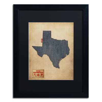 Texas Map Denim Jeans Style' 20x16 framed - Wayfair