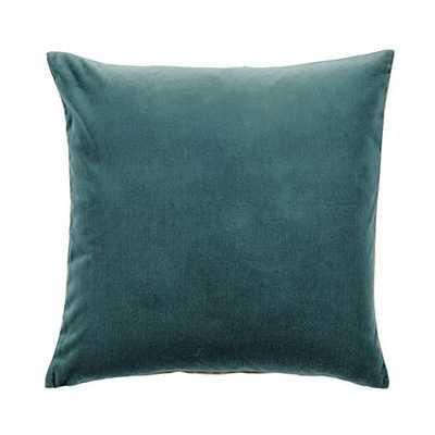 Signature Velvet & Linen Pillow - Oasis, 20x20, With Insert - Ballard Designs