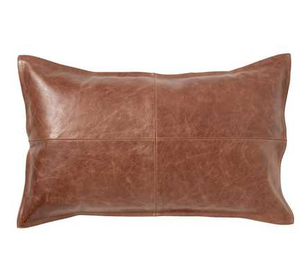 "Pieced Leather Pillow Cover - 16"" x 26"" - Insert Sold Separately - Pottery Barn"