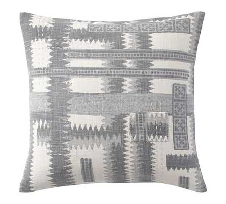 "ZIG ZAG SHIBORI PRINT PILLOW COVER- 20"" sq- Grey- Insert sold separately. - Pottery Barn"