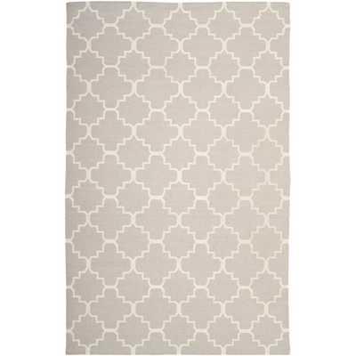 Moroccan Reversible Dhurrie Grey Crisscross Wool Rug (5' x 8') - Overstock