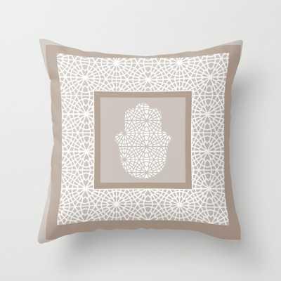"Hamsa in morrocan pattern Indoor Pillow - 18"" x 18"" - Down Insert - Society6"