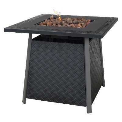 Uniflame Bronze Faux Wicker LP Gas Fire Pit with Ceramic Tile Surround - Target