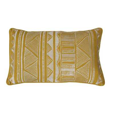 """Tracey Embroidered Tribal Sketch Lumbar Pillow-Lemon Curry -12"""" H x 20"""" W x 1"""" D-Feather fill insert - AllModern"""