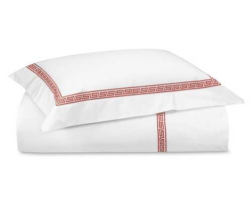 Classic Greek Key Duvet Cover, King/Cal King, Coral - Williams Sonoma
