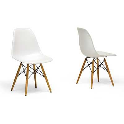 Wood Leg Accent Chairs (Set of 2) - White - Overstock