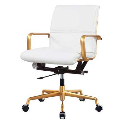 Mid-Back Office Chair - White, Gold - Wayfair