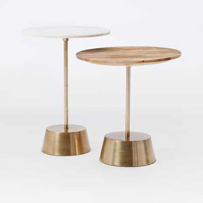 Maisie Nesting Side Table Set- Marble Tall + Raw Mango Short - West Elm