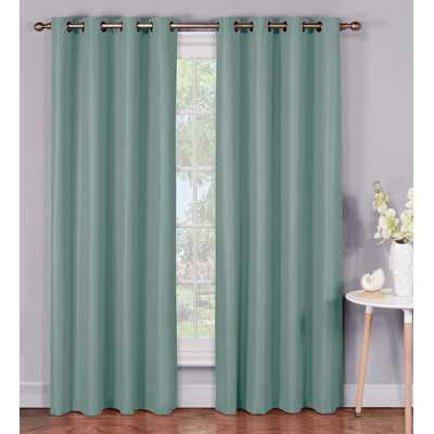 Emma Microfiber Room Darkening Extra Wide Grommet Single Curtain Panel by Bella Luna -Lake Blue - 95 - Wayfair
