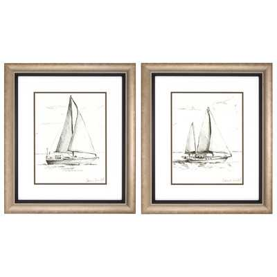 Coastal Boat Sketch 2 Piece Framed Painting Print Setby Propac Images - Wayfair