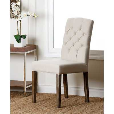 ABBYSON LIVING Colin Beige Linen Tufted Dining Chair - Overstock