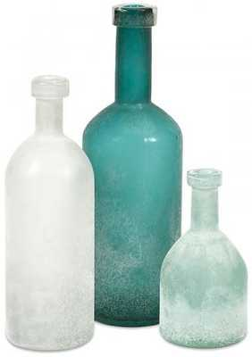 KELLEN GLASS BOTTLES - SET OF 3 - Home Decorators
