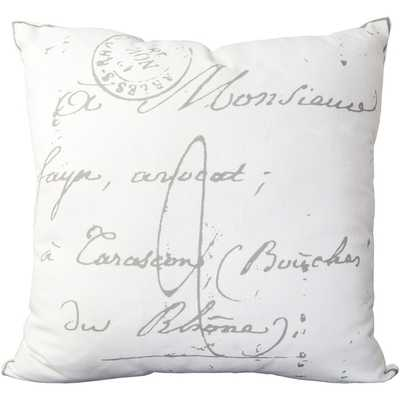 Erskine 18-inch French Script Throw Pillow - beige - down - Overstock