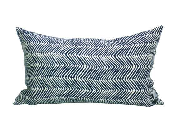 Alan Campbell Petite Zig Zag lumbar pillow cover in Navy - Etsy