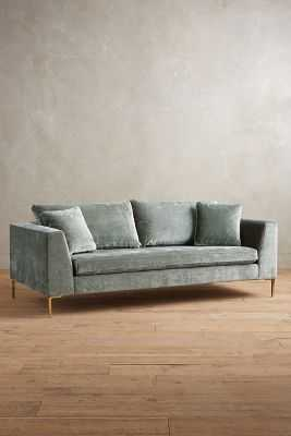 Slub Velvet Edlyn Sofa - Light Mint - Anthropologie