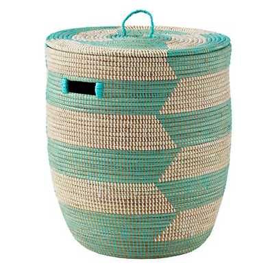 Aqua Herringbone Woven Hamper - Land of Nod