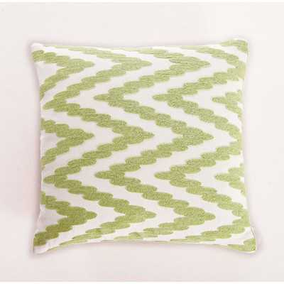 "Embroidered Chevron Dot Cotton Throw Pillow- Green- 18"" H x 18"" W x 5"" D-  Polyester/Polyfill insert - Wayfair"