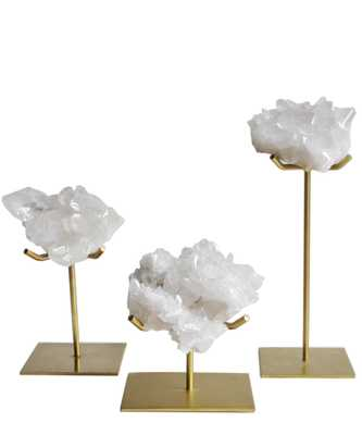 Quartz Cluster on Gold Stand - Small - High Street Market
