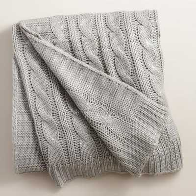 Silver Metallic Cable Knit Throw - World Market/Cost Plus