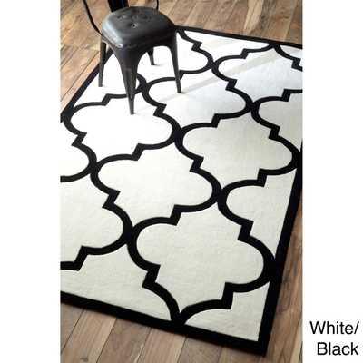 nuLOOM Handmade Luna Moroccan Trellis Rug (5' x 8')-White/Black - Overstock