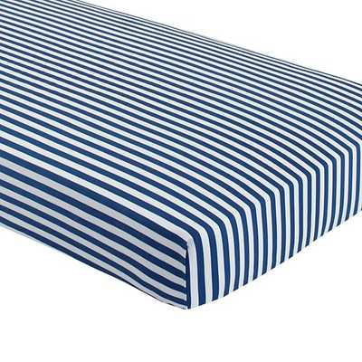 Blue Stripe Crib Fitted Sheet - Land of Nod