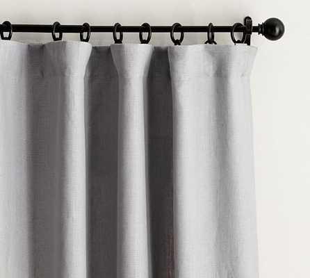 "Belgian Flax Linen Drape - Without blackout, Grey, 96""L - Pottery Barn"