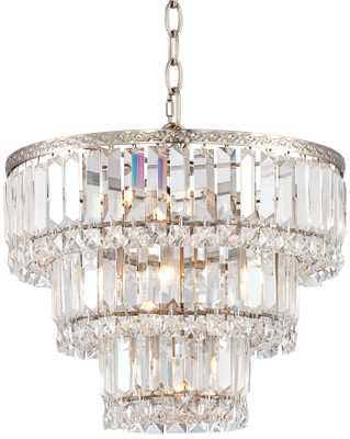 """Magnificence Satin Nickel 14 1/4"""" Wide Crystal Chandelier - Lamps Plus"""