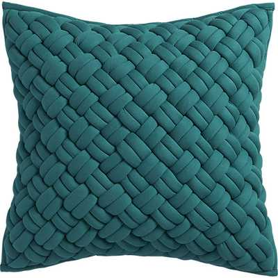 "Jersey interknit green 20"" pillow with feather insert - CB2"