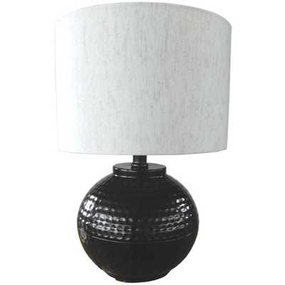 "Hammered Metal 18"" H Table Lamp with Drum Shade - AllModern"