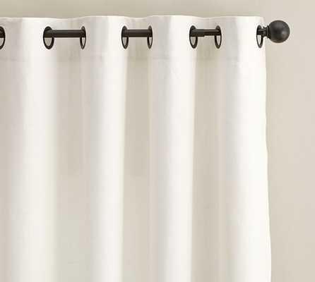 "Emery Linen/Cotton Grommet Drape - 96"" - BLACKOUT LINING - IVORY - Pottery Barn"