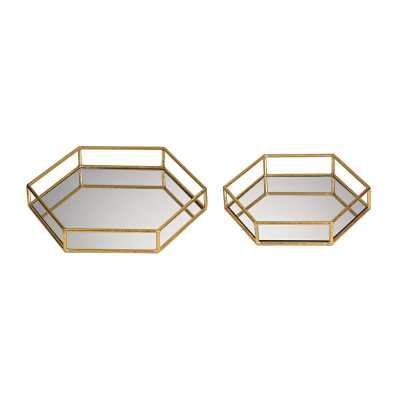 Mirrored hexagonal trays - Rosen Studio