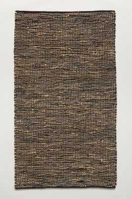 Leather-Twined Rug - Black - 8' x 10' - Anthropologie