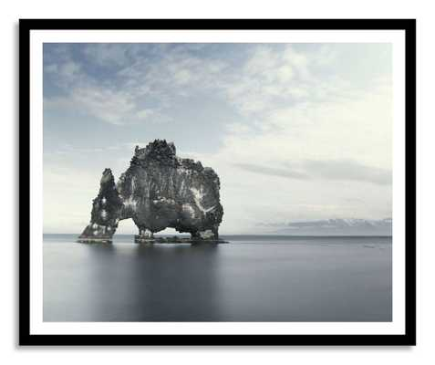 The Elephant in the Water- 40x31- Black frame - Domino