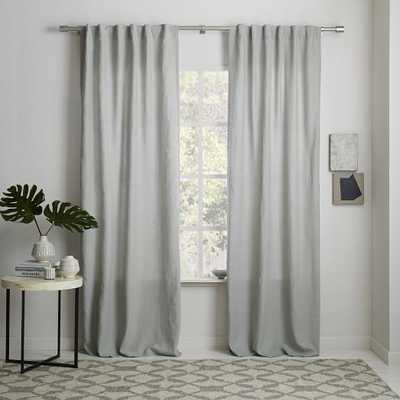 "Belgian Flax Linen Curtain - Platinum, Unlined, 108""L - West Elm"