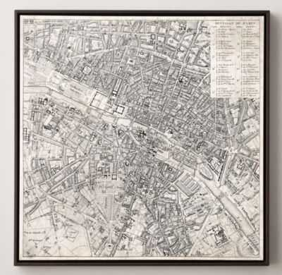 "Vintage Aerial Maps of European Cities - Paris, 28""Sq, Framed - Macys"
