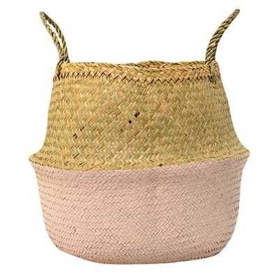 "Seagrass Basket with Handles - Natural/Rose (13"") - 3R Studios - Target"