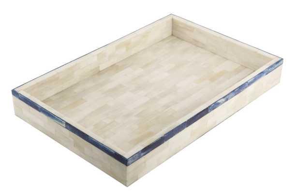 Naturals Tray Striped Blue 11x17 - Alma Decor