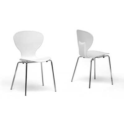 Boujan White Plastic Modern Dining Chair (Set of 2) - Overstock