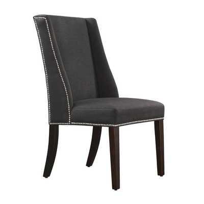 INSPIRE Q Geneva Dark Grey Fabric Wingback Hostess Chairs (Set of 2) - Overstock
