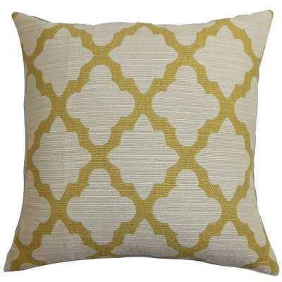 Odalis Geometric Yellow Natural Feather Filled 18-inch Throw Pillow - Overstock