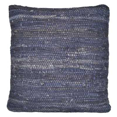 Blue Leather Matador 18x18-inch Pillow - insert included - Overstock