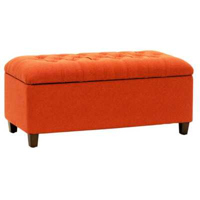 Candace Tufted Storage Bench - Orange / Red - Wayfair