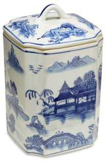 """8"""" Darcell Square Canister Blue/White - One Kings Lane"""