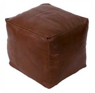 Havane Square Leather Pouf - Dark Brown - One Kings Lane