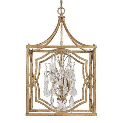 Medium Modern Fretwork Frame with Crystals Lantern - Shades of Light