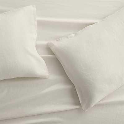 Set of 2 Lino II Cream Linen Standard Pillow Cases - Crate and Barrel